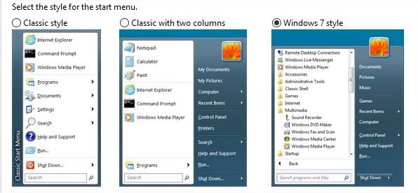Windows startmenu