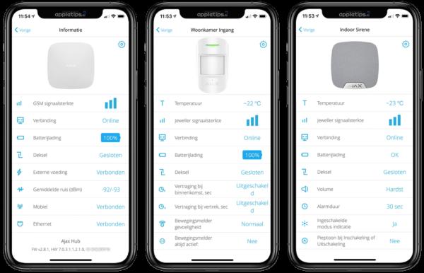 draadloos alarm bediening smartphone APP voorbeeld